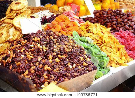 Different dried fruits at market