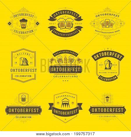 Oktoberfest celebration beer festival labels, badges and logos set retro style vector illustration.