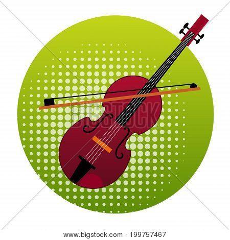 Violin Icon Music Instruments Concept Flat Vector Illustration