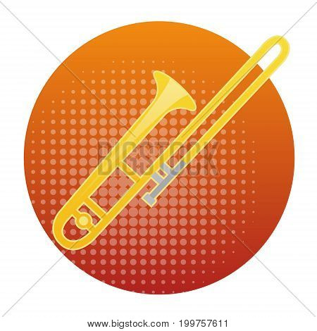 Trombone Icon Wind Music Instrument Concept Flat Vector Illustration