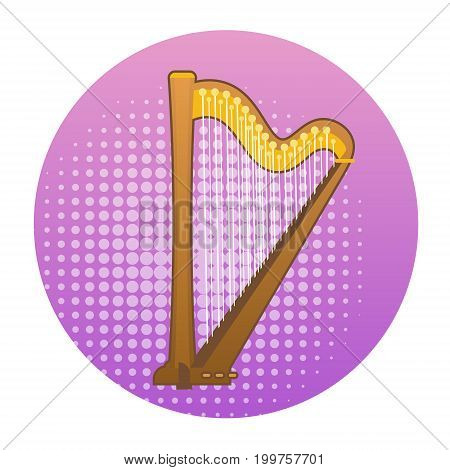 Harp Icon Ancient Music Instrument Concept Flat Vector Illustration