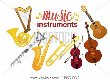 Music Instruments Set Banner With Copy Space Musical Concept Flat Vector Illustration