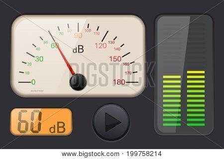 Decibel gauge. volume meter. Vector 3d illustration