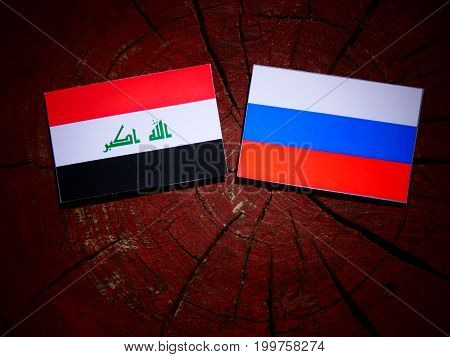 Iraqi Flag With Russian Flag On A Tree Stump Isolated
