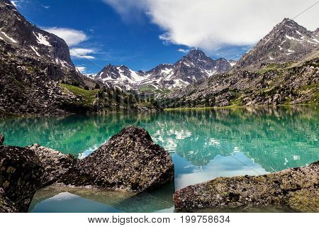 Panorama Of Beautiful Lake In Mountain Valley