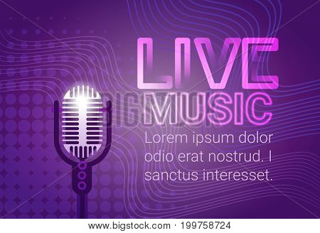Live Music Microphone Banner Colorful Pop Art Style Modern Musical Concert Poster Flat Vector Illustration