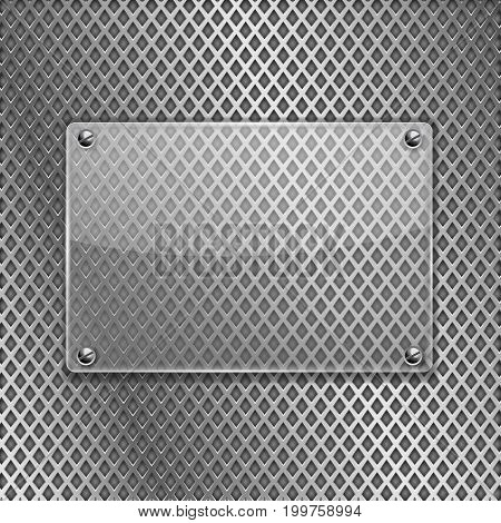 Transparent glass plate on metal perforated background. Vector 3d illustration