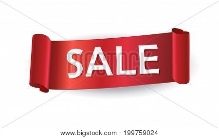 Sale logo, red ribbon banner on white background. Sales discount voucher with red ribbon. Sale icon Vector template