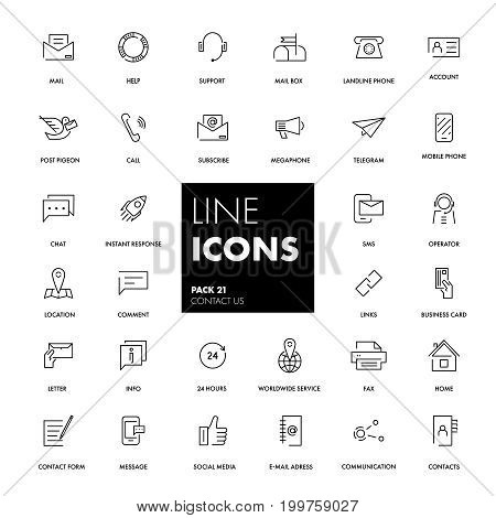 Line icons set. Contact us pack. Vector illustration.