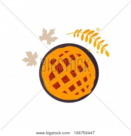 Freshly baked apple, pumpkin, fruit pie and fall, autumn leaves, top view cartoon vector illustration isolated on white background. Traditional apple, pumpkin, fruit pie, Thanksgiving Day symbol