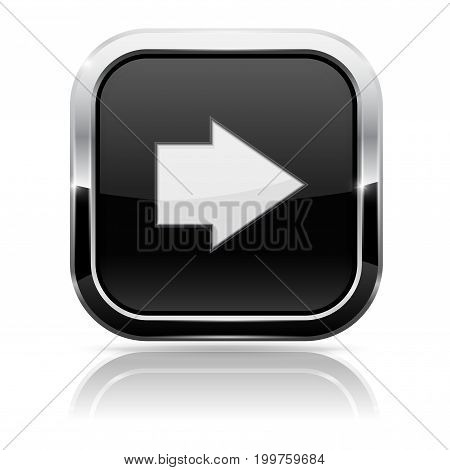Black square button with white arrow. Vector 3d illustration isolated on white background