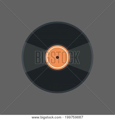 Vinyl Disk Icon Audio Record Retro Concept Flat Vector Illustration