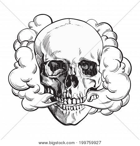 Smoke coming out of fleshless skull, death, mortal habit concept, black and white sketch style vector illustration isolated on background.
