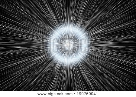 Abstract Background With Star Warp Or Hyperspace With Free Space In The Center, Light Of Moving Star