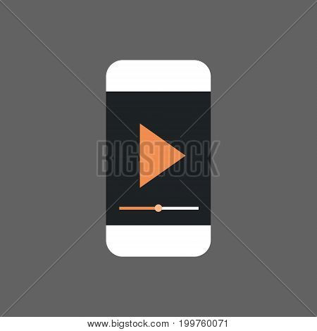 Mp3 Player Interface On Cell Smart Phone Icon Audio Listening Gadget Flat Vector Illustration