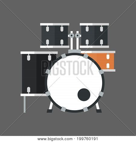 Drum Set Icon Music Instrument Concept Flat Vector Illustration