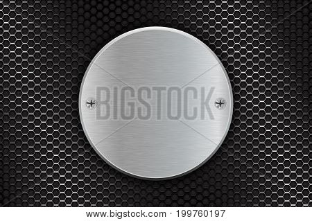 Metal brushed round plate on perforated background. Vector 3d illustration
