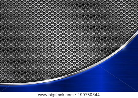 Metal perforated background with blue wave steel element. Vector 3d illustration