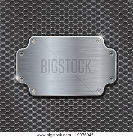 Metal decorative plate on iron perforated background. Vector 3d illustration