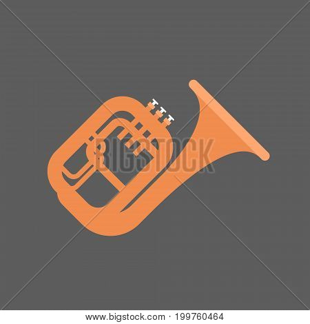 Horn Icon Wind Music Instrument Concept Flat Vector Illustration