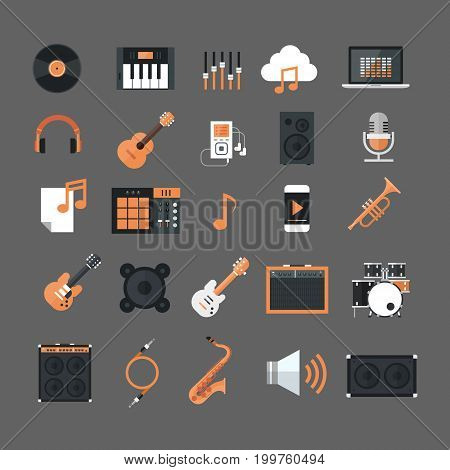 Music Instruments And Equipment Electronics Icons Set Button Collection Flat Vector Illustration