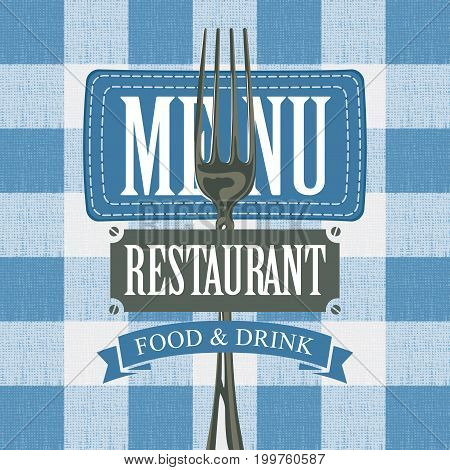 Vector banner for menu cafe or restaurant with a fork and fabric stripe against the background of a white blue checkered tablecloth