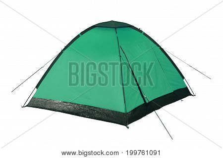 Green tent on a white background isolation