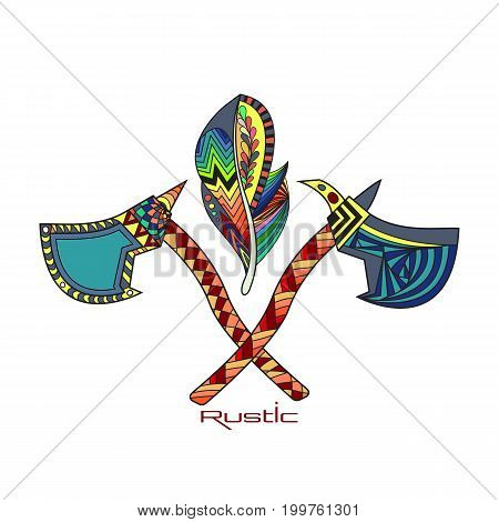 Rustic decorative illustration with two crossed tomahawks with feather. Native American ax.