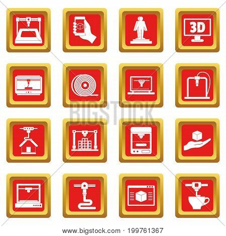 3D Printing icons set in red color isolated vector illustration for web and any design