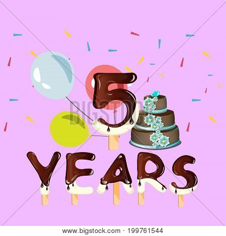 Happy Birthday five 5 year design with number. Vector illustration