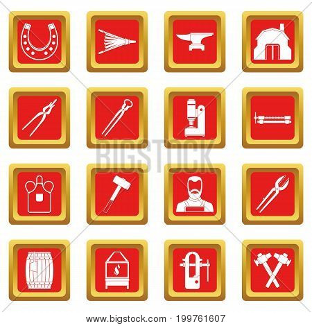 Blacksmith icons set in red color isolated vector illustration for web and any design