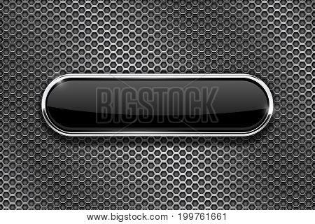 Metal perforated background with black oval glass button. Vector 3d illustration