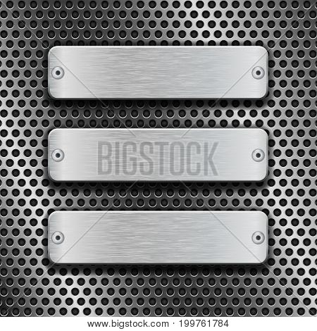 Metal rectangle plates on perforated background. Vector 3d illustration