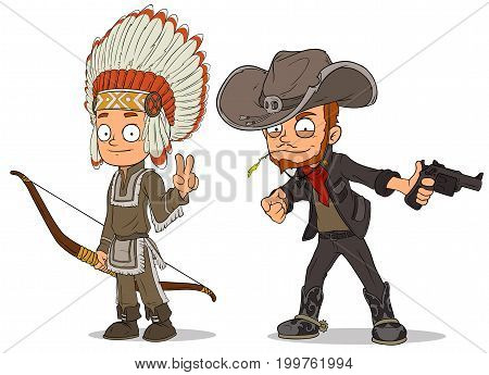 Cartoon indian boy with bow and cowboy with gun characters vector set