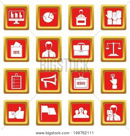 Election voting icons set in red color isolated vector illustration for web and any design