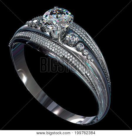 Silver band for engagement with gem. Top view of diamond facetes luxury jewellery bijouterie ring from white gold or platinum with gemstone. 3D rendering on black background. Family values object.