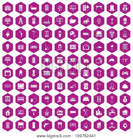 100 comfortable house icons set in violet hexagon isolated vector illustration