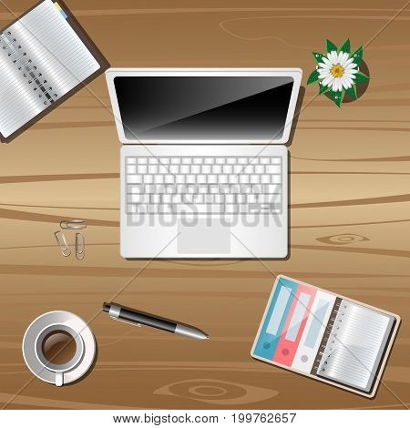 Work object on wooden background. Vector illustration