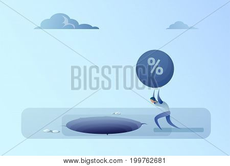 Business Man Throwing Credit Debt In Hole Freedom Finance Crisis Concept Flat Vector Illustration