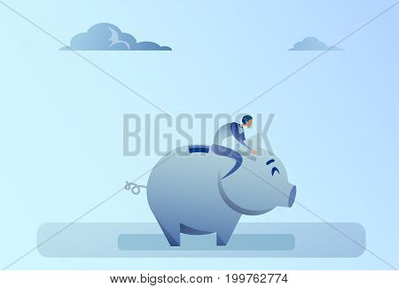 Business Man Sitting On Piggy Bank Money Savings Concept Flat Vector Illustration