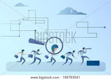 Recruitment Zoom Magnifying Glass Picking Business Person Candidate People Group Flat Vector Illustratio