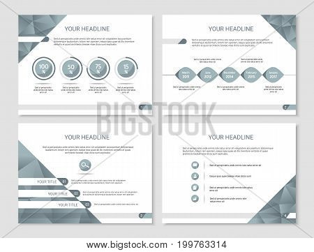 Vector presentation or brochure template with timeline graphs with percentage and bullet points - blue and white clean polygonal design