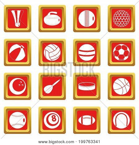 Sport balls icons set in red color isolated vector illustration for web and any design