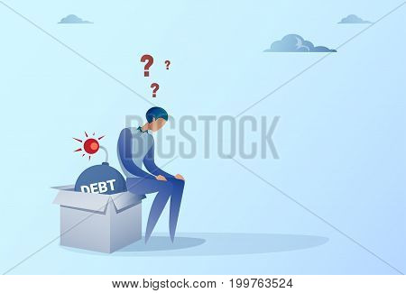 Business Man Sitting On Bomb Credit Debt Finance Crisis Concept Flat Vector Illustration