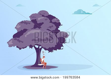 Business Man With Question Mark Sit Pondering Under Tree Problem Concept Vector Illustration