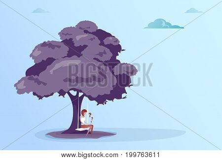 Business Woman With Question Mark Sit Pondering Under Tree Problem Concept Vector Illustration