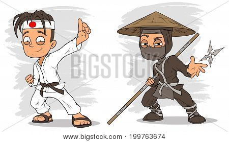 Cartoon karate boy and masked ninja with stick characters vector set