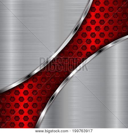 Metal brushed background with red perforated wave. Vector 3d illustration