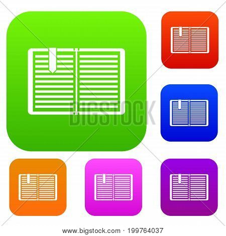 Open book with red bookmark set icon in different colors isolated vector illustration. Premium collection