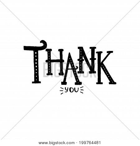 Thank You lettering. Vector illustration on isolated background